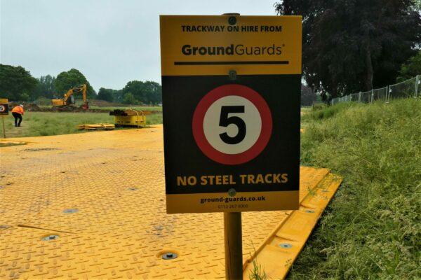 GroundGuards no steel tracks sign