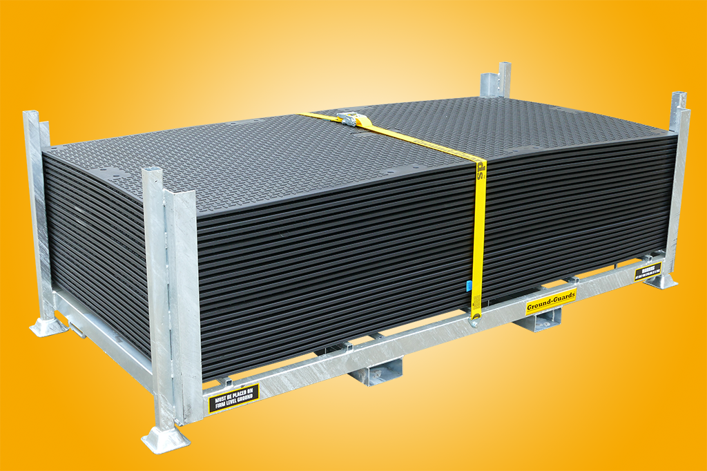plastic ground protection mats loaded into safe stillage