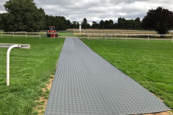 Temporary walkway across race course