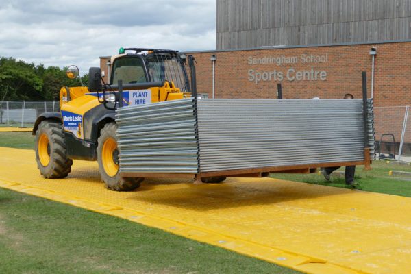 Temporary roadway at school