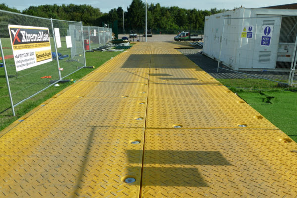 Temporary roadway at sports park field
