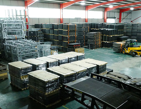 plastic mats stored in warehouse