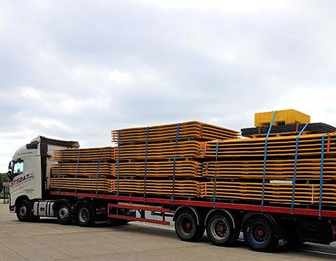 heavy duty mats loaded onto HGV