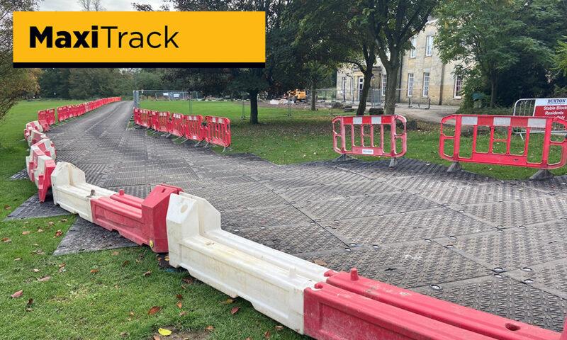 temporary road across public park field