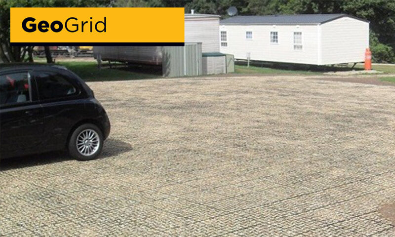 geo grid cellular paving grass field car park caravan site