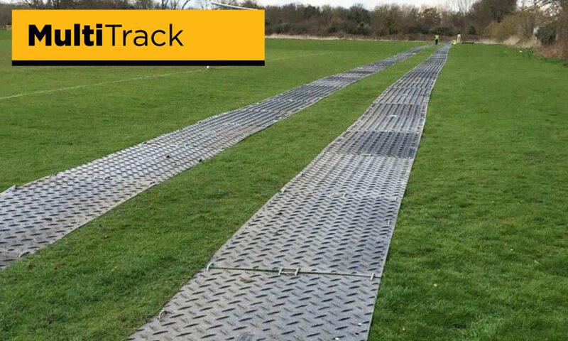 Twin trackway across football sports field
