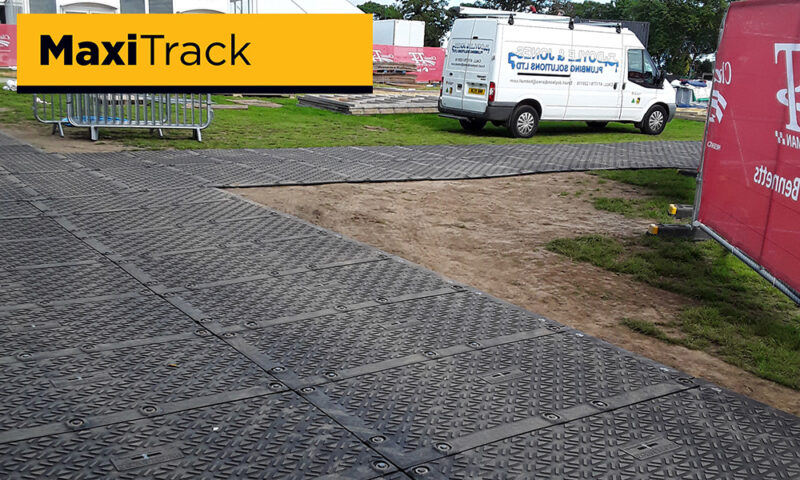 temporary roadway at public event park